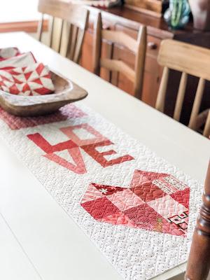 Happy Valentine's Day Runner Featuring Moda Blockheads Block 5 – LOVE